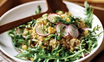 recette salade riz lentilles mais petits pois