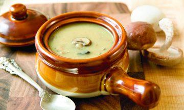 Soupe champignons thym
