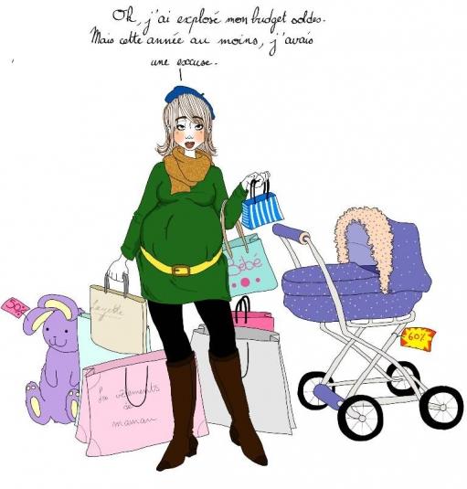 Humour l 39 oeil de mariecrayon sur la grossesse - Quand commence les soldes ...