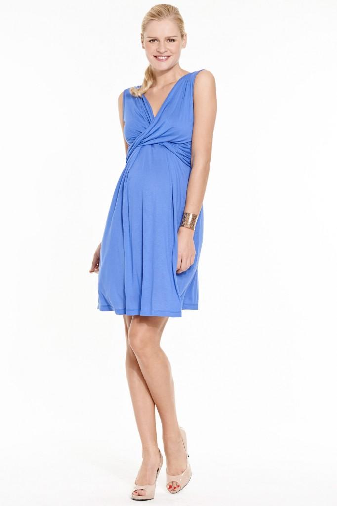 Robe de grossesse en jersey de viscose bleu Fernanda, by Bellybutton, 89.9 euros, sur émoi émoi