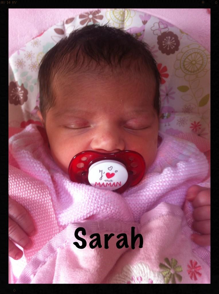 Sarah, née le 5 septembre 2014.