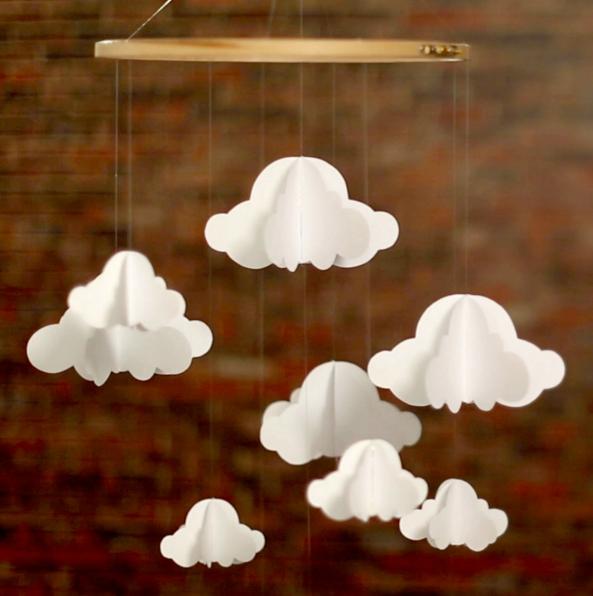 diy mobile nuage pour chambre de bebe