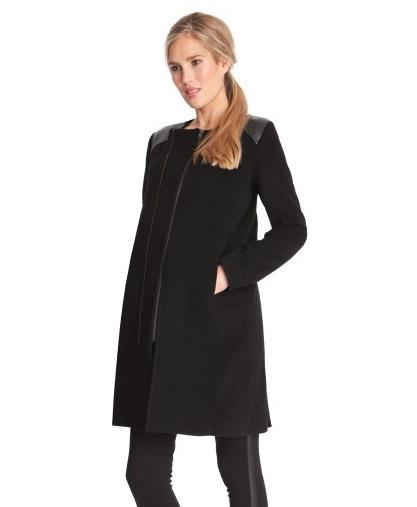 Noir, en laine et cachemire, ce manteau bien chaud mais stylé vous donnera une allure chic pendant la saison. Long jusqu'à mi-cuisses, il ira très bien avec un pantalon ou une robe. Manteau de grossesse Séraphine, 118 euros en soldes