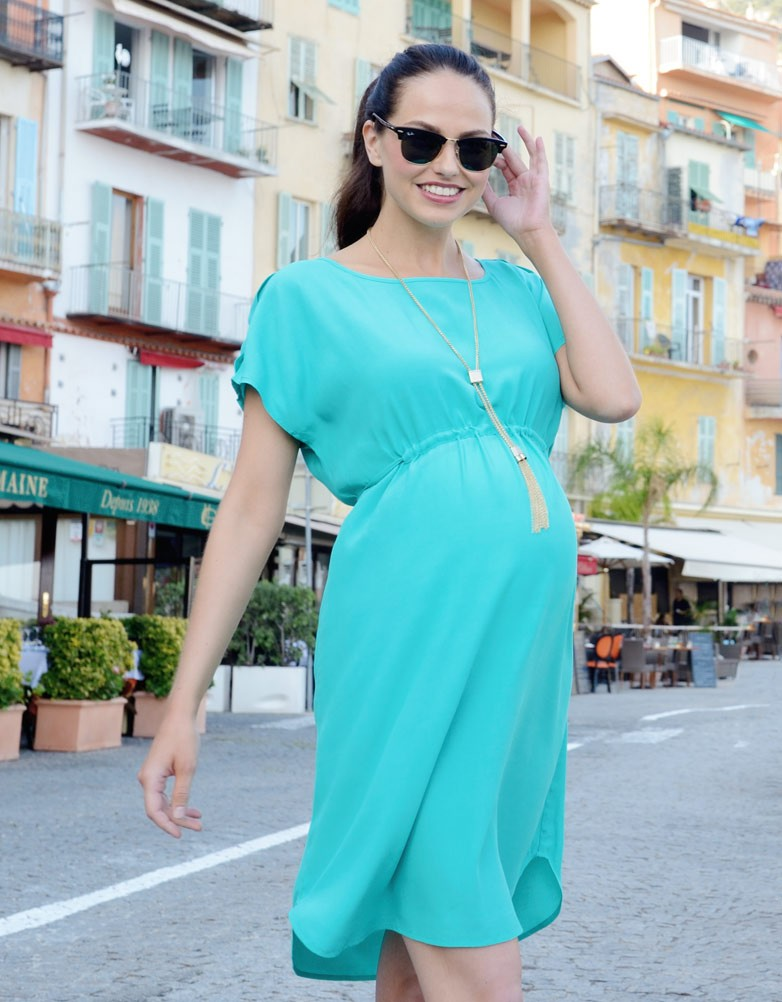 Robe de maternite coupe empire turquoise Seraphine