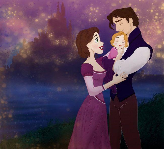 raiponce et son prince et leur petite fille