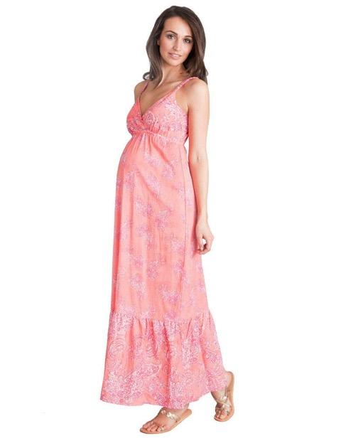 Robe longue de grossesse imprimée - corail, Seraphine, 55,00€