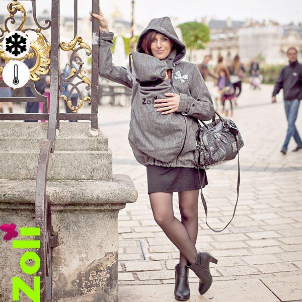 """Féminine et confortable, cette veste de portage est aussi impérméable et chaude. Vendue en pack, elle est multi-tâches ! En effet, elle peut se porter enceinte, avec bébé et sans bébé, et tout ça grâce à des inserts. Pack de portage """"RainSnow"""" de Zoli. 215 euros."""