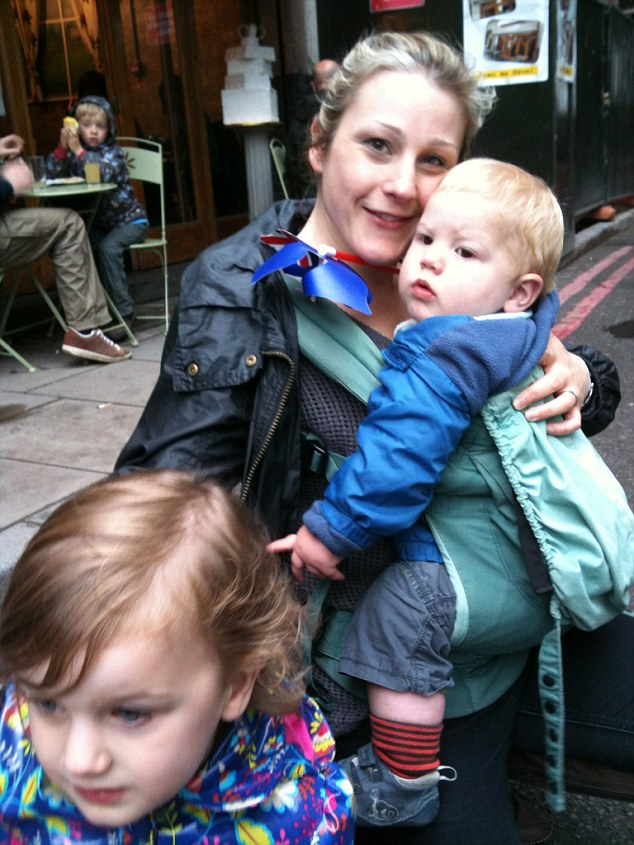 Caroline Blight holding son theo and with daughter Rosa.