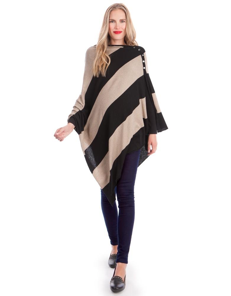 Le châle à tout faire. Aussi bien porté en écharpe ou en couverture, ce châle fabriqué en fibre de bambou est muni de pressions à l'épaule vous permettant une ouverture pour allaiter bébé. Châle d'allaitement à rayures, Séraphine, 55 euros.
