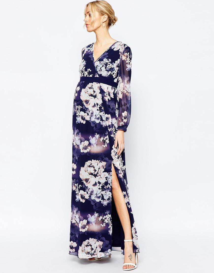 Asos Little Mistress Maternity Maxi robe cache coeur a fleur