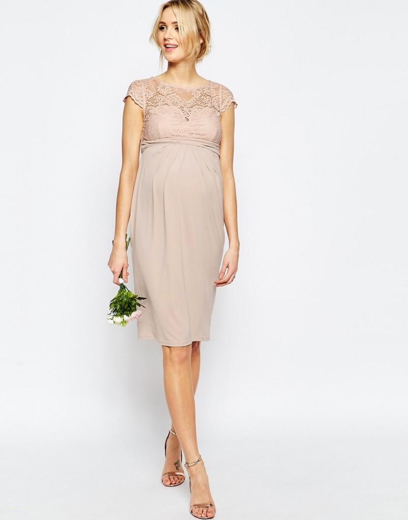 Asos Maternity wedding robe mi longue avec top en dentelle