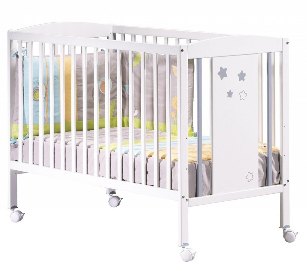 Sauthon on line NAO - Lit bebe - Tout Balustres avec panneau decor et roulettes - 120 x 60 cm