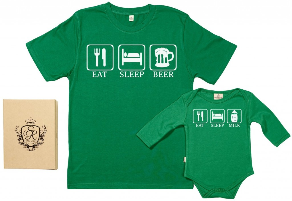 duo de t shirt papa et bebe Eat Sleep Drink Coton Bio amazon