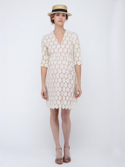 robe grossesse blanche dentelles printemps