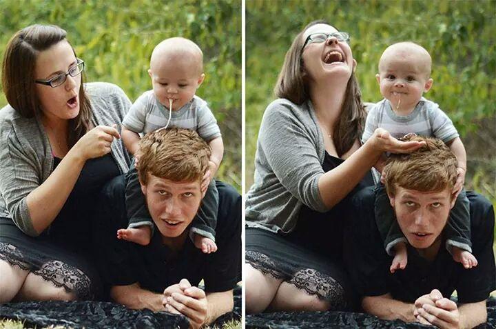 animation photo de famille bebe vomit