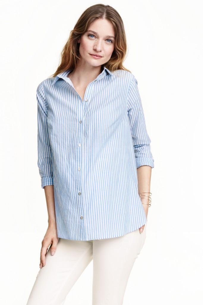 bleue blouse rayee