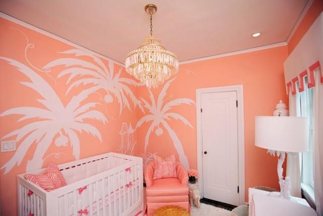 chambre bébé couleur corail-tropiques