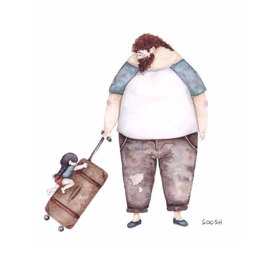 depart pour voyage valise papa et petite fille dessin soosh