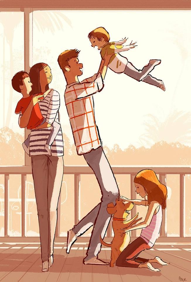 dessin pascal campion moment en famille