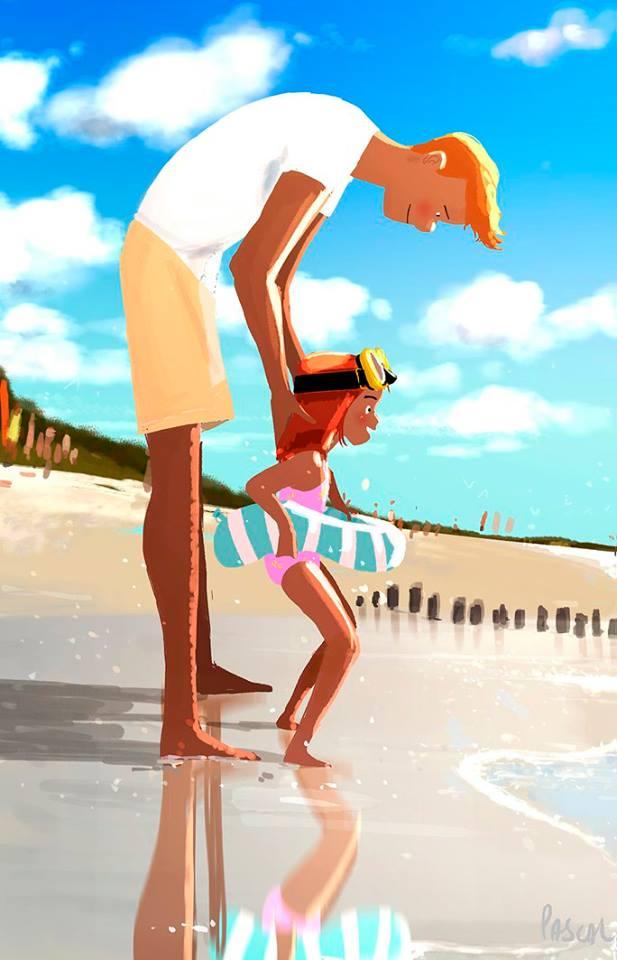 dessin pascal campion papa et sa fille a la mer