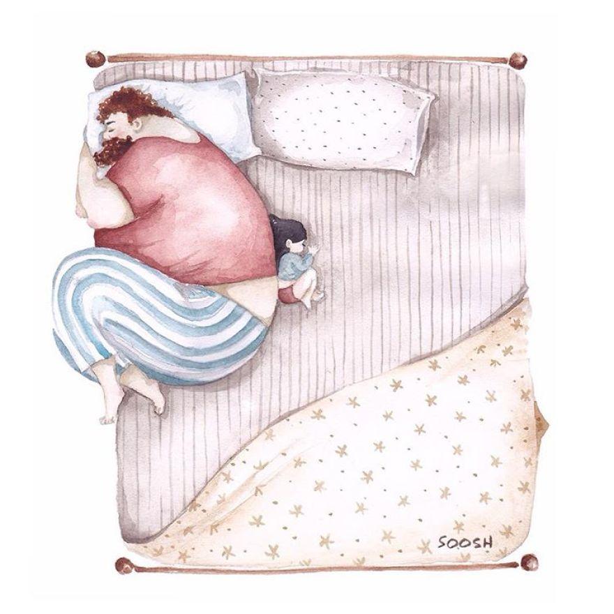 dormir lit papa et petite fille dessin soosh