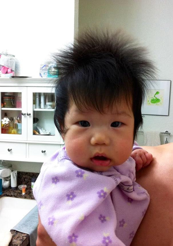 photo bebe chevelu brun asiatique