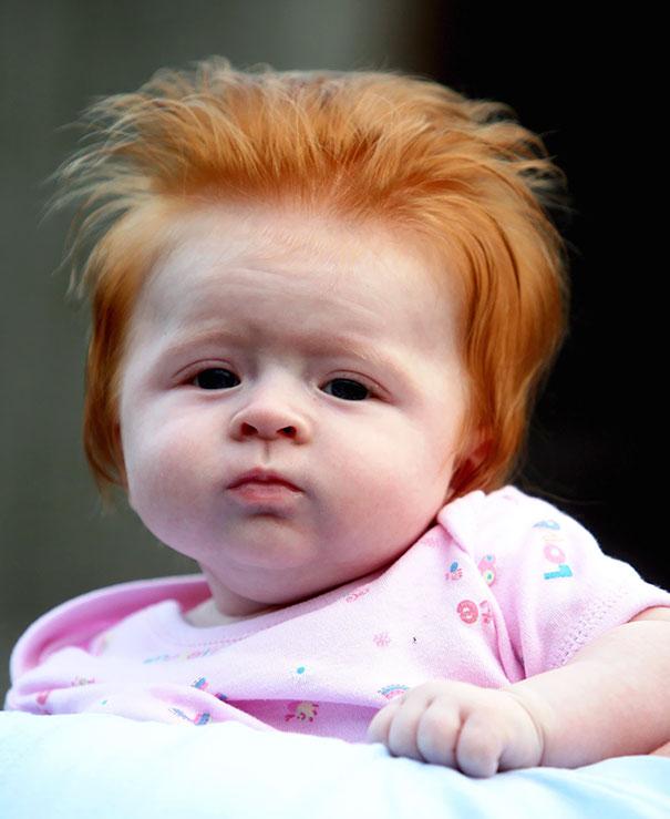 photo bebe chevelu roux