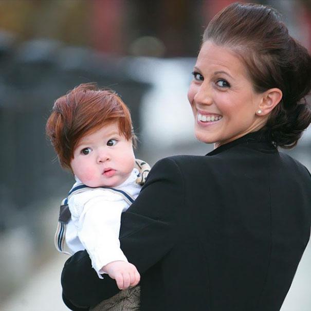 photo bebe cheveux roux