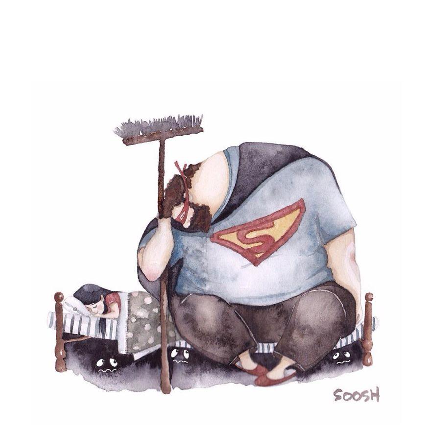super hero papa dodo petite fille dessin soosh