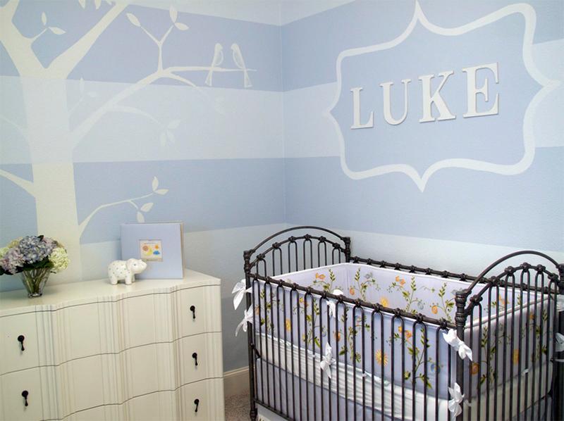 chambre bleue petits oiseaux