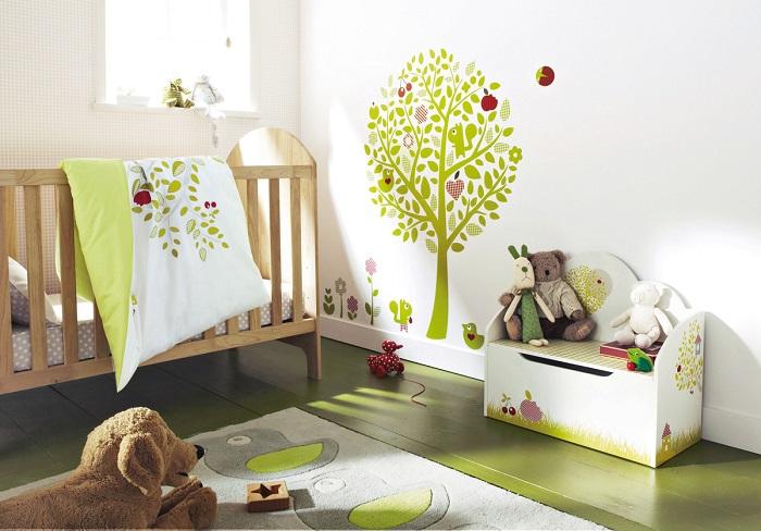 chambre bebe sticker vert pomme