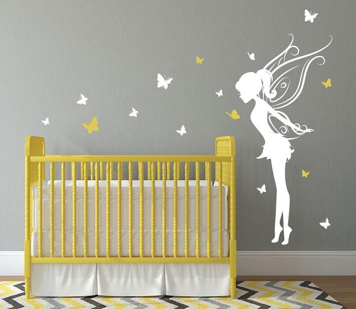 Chambre bébé couleur jaune et gris - Modèle de tricot gratuit