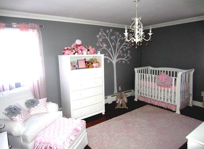 chambre rose et grise sticker arbre