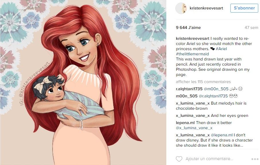 princesses-disney-deviennent-maman-kristenkreevesart-instagram-ariel