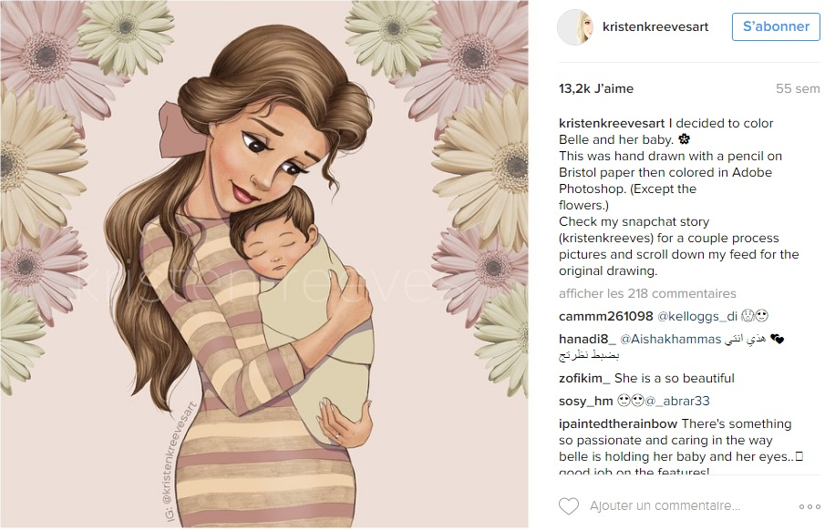 princesses-disney-deviennent-maman-kristenkreevesart-instagram-belle
