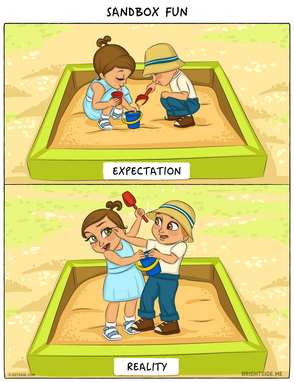 bebe attentes realite bac a sable