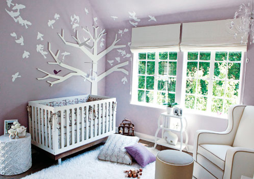 chambre bebe oiseaux lilas