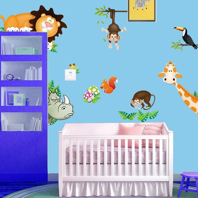 chambre de bébé-animaux-jungle