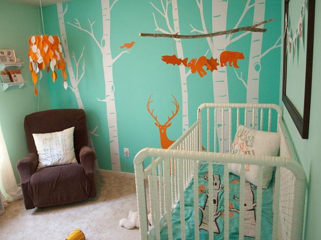 chambre de bébé-animaux-forêt