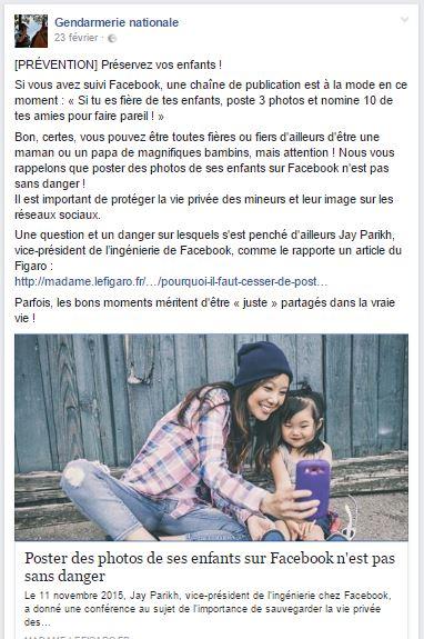 gendarmerie alerte publication photos facebook enfant une