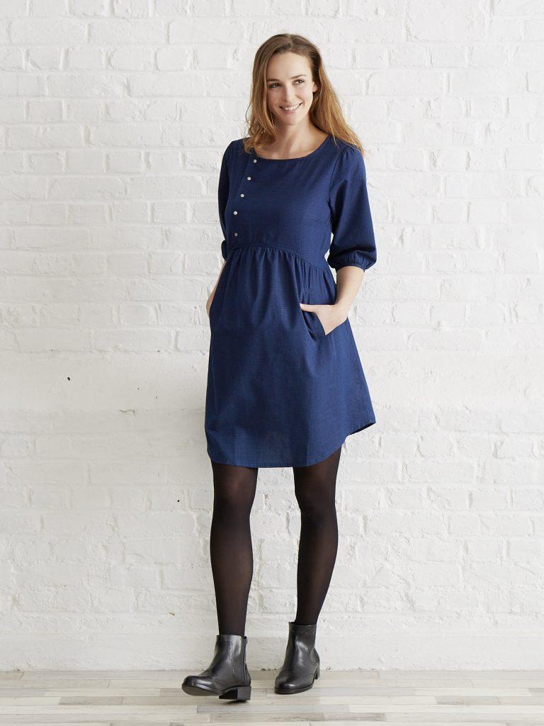 robe grossesse bleue