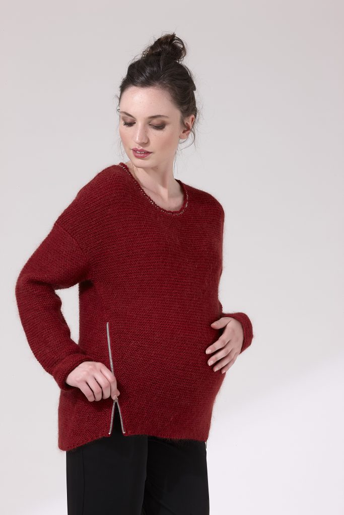 shopping rouge pull de grossesse 1 et 1 font 3