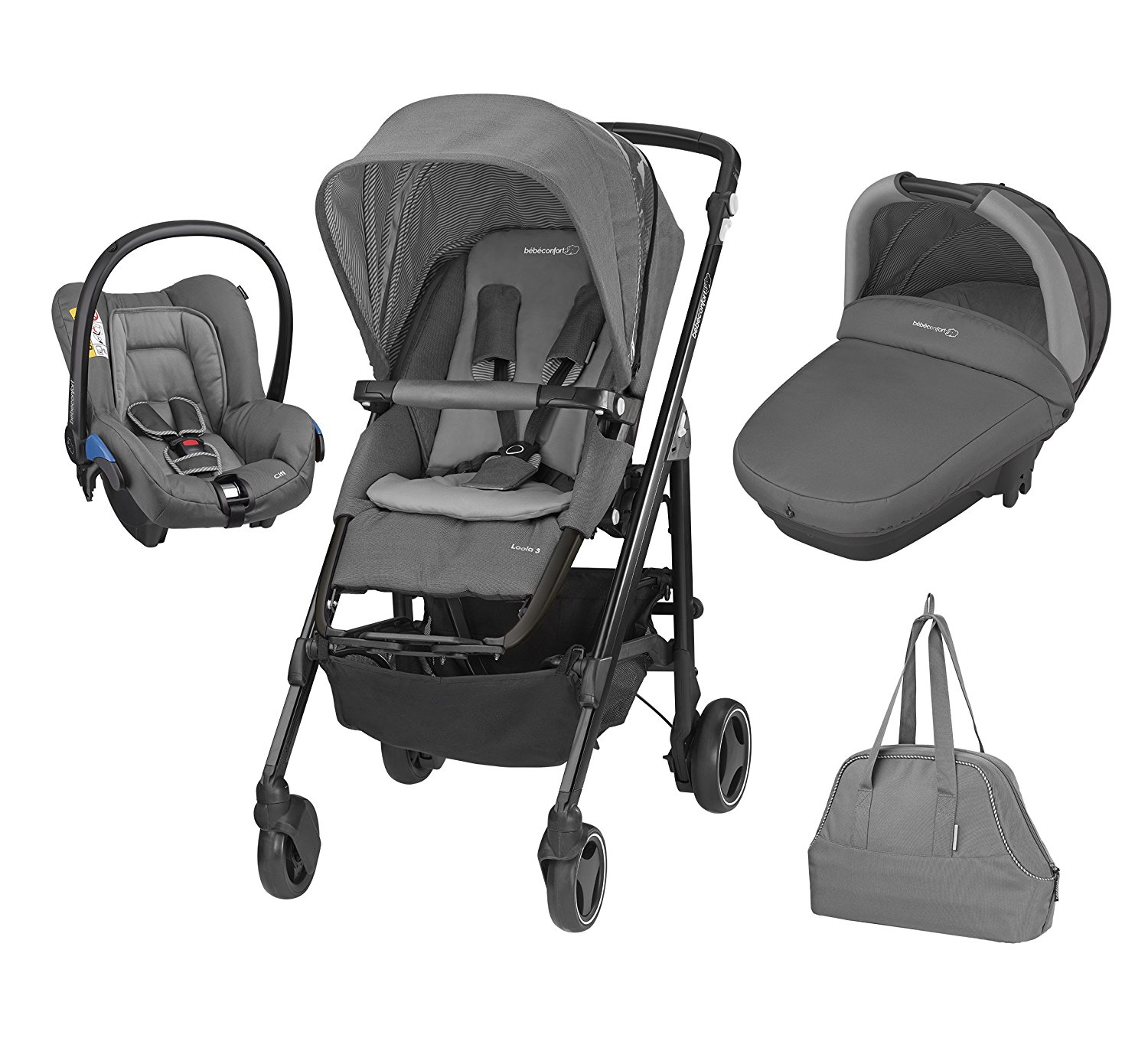 bebe Confort Poussette Combinee Trio Loola Excel Collection 2016 Concrete Grey