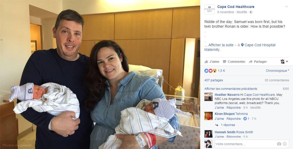 pourquoi ce bebe est plus jeune que son jumeau alors qu il est ne en premier