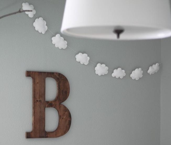 comment fabriquer une jolie guirlande de nuages pour bercer b b. Black Bedroom Furniture Sets. Home Design Ideas