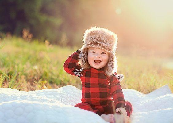 Bebes trop craquants pares a affronter l hivers chemise en tartan