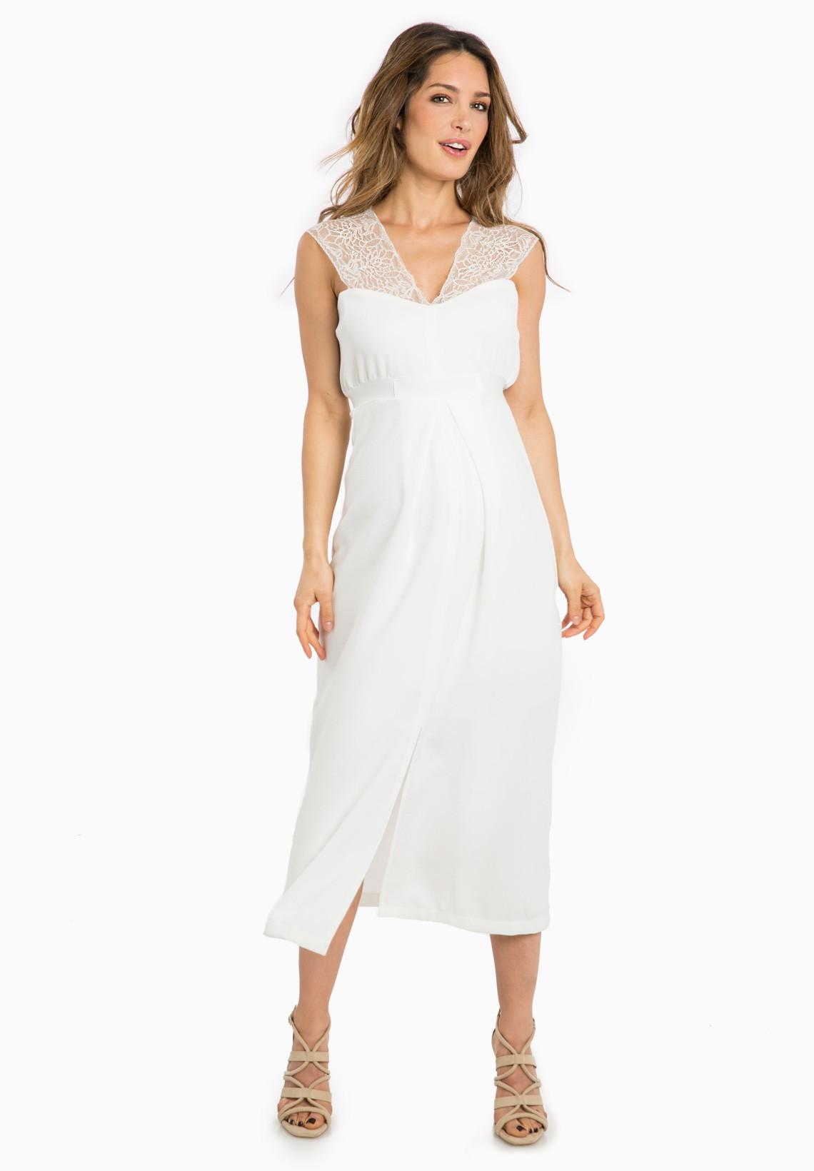 Robe blanche de grossesse