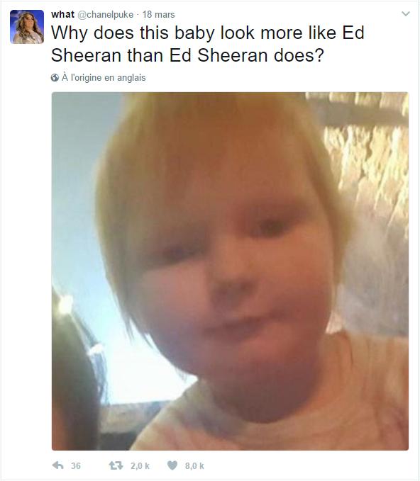 """""""Pourquoi ce bébé ressemble-t-il plus à Ed Sheeran qu'Ed Sheeran ?"""""""