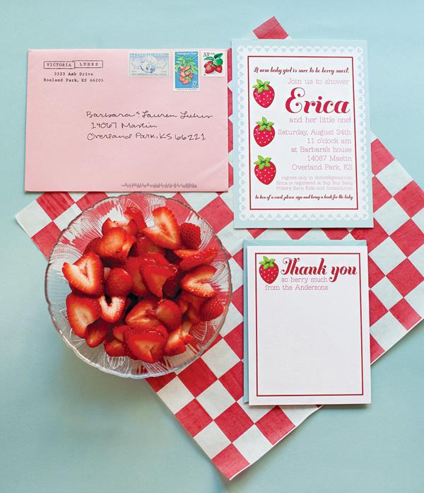 baby shower-neuf mois-fraise-carte