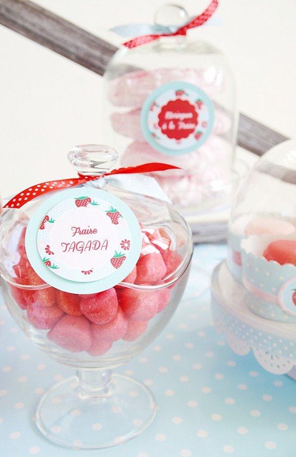 baby shower-neuf mois-fraise-bonbonnière